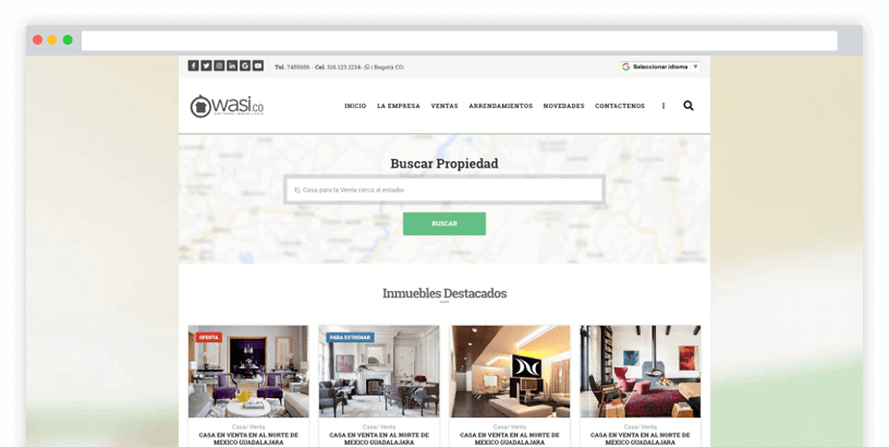 Página Web para Inmobiliarias fácil de usar